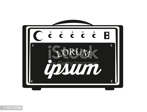 Guitar amplifier with text space for your designs. Vector Illustration.