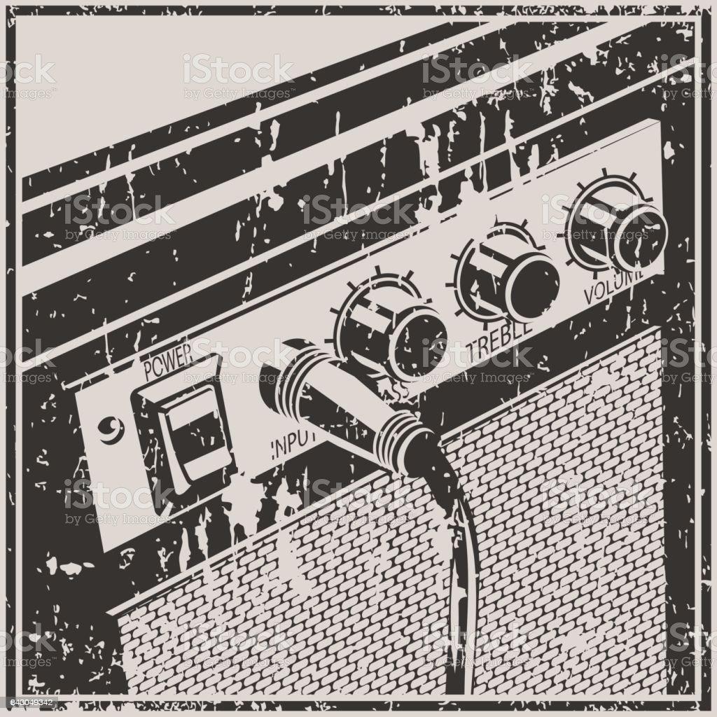 Guitar Amplifier Retro Style vector art illustration