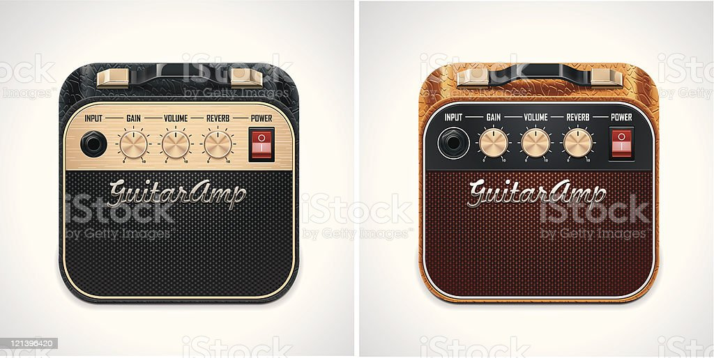 Guitar amplifier square XXL icon vector art illustration