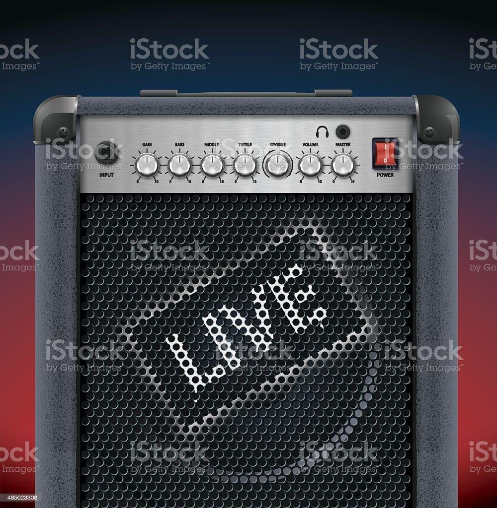 guitar amplifier vector art illustration
