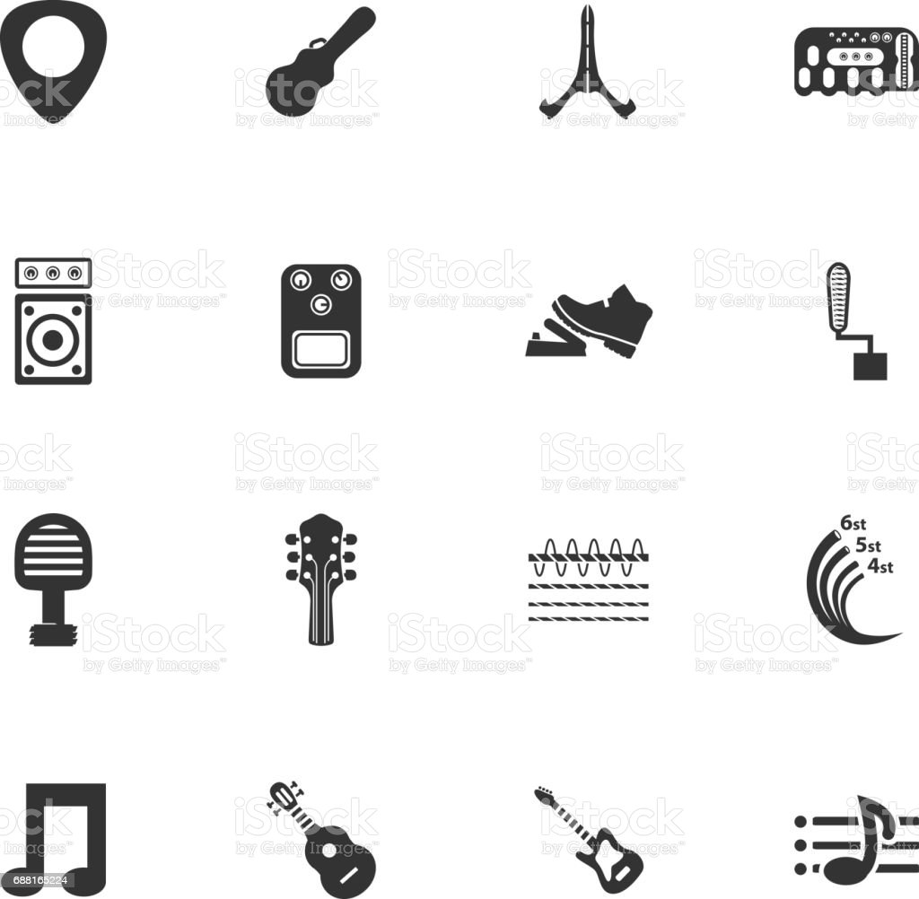 Guitar and accessories icons set vector art illustration