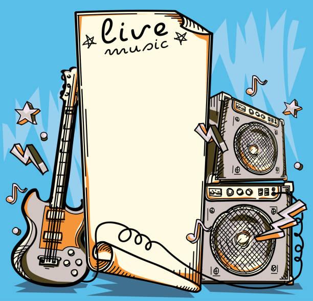 Guitar and amplifier live music design vector art illustration