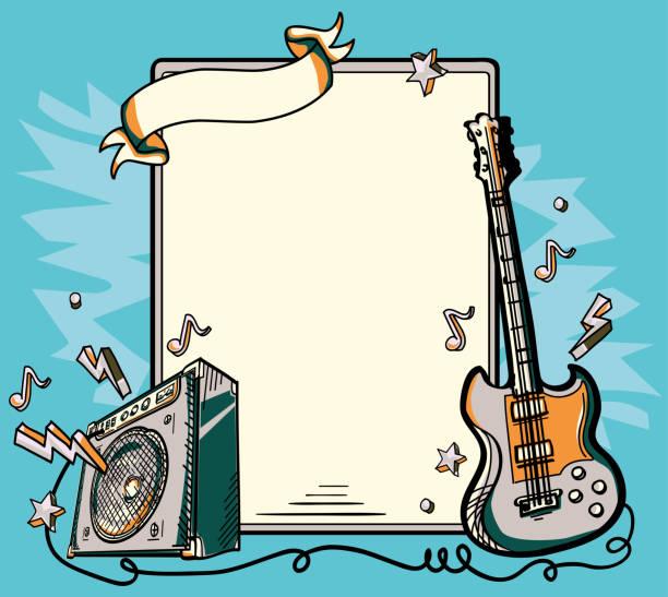 ilustrações, clipart, desenhos animados e ícones de cartaz musical guitarra e amplificador - música rock