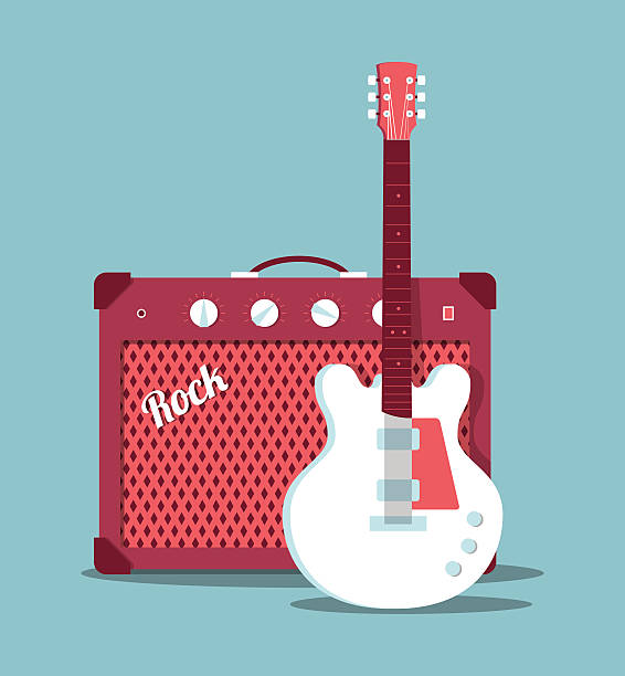 Guitar and amplifier vector art illustration