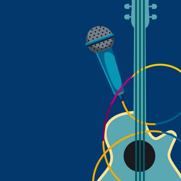 illustrazioni stock, clip art, cartoni animati e icone di tendenza di guitar and microphone. - concerto
