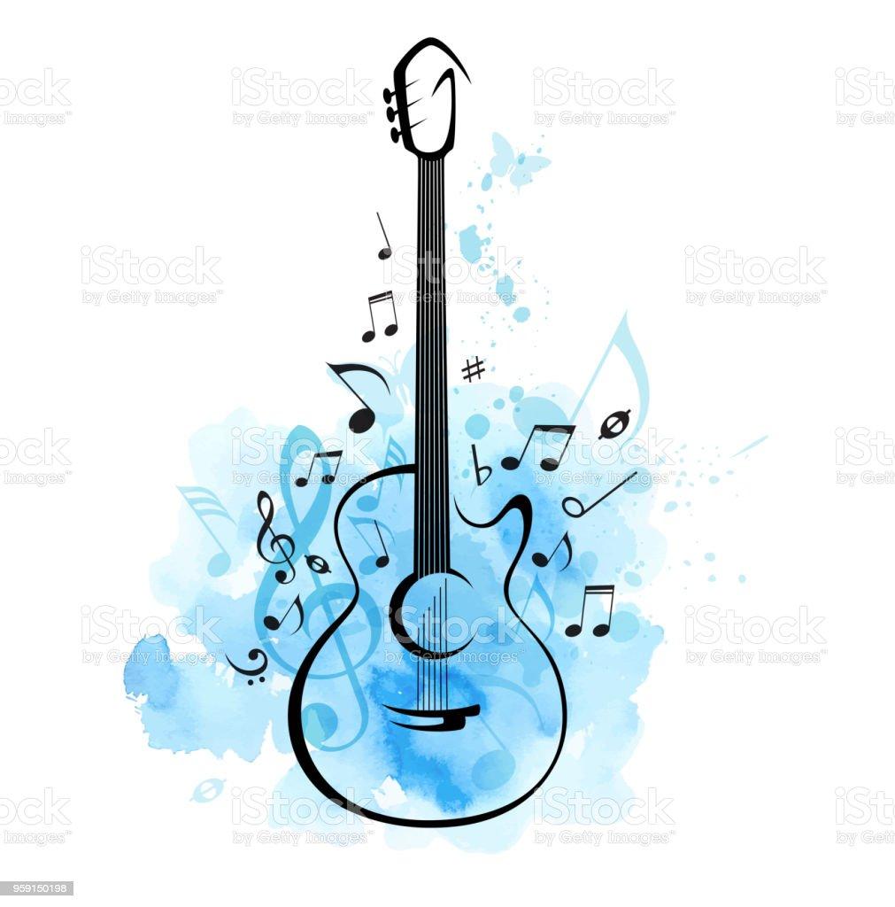 Gitarre Und Noten Auf Einem Blauen Aquarell Hintergrund Stock Vektor ...