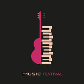istock Guitar and piano hand drawn flat colorful music vector icon 1182472759