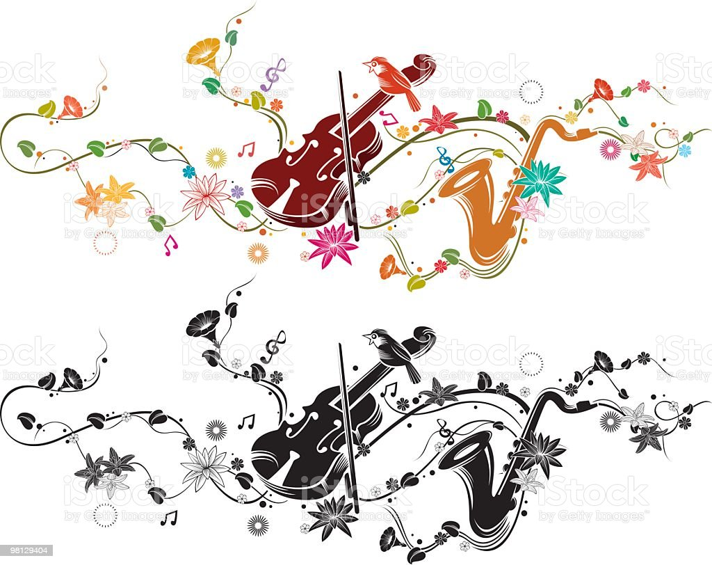 guitar and saxophone royalty-free stock vector art