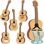 Cartoon guitar including: