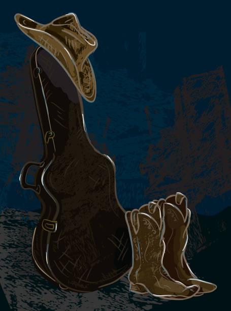 gitarrenkasten mit cowboy-hut und schuhe - cowboystiefel stock-grafiken, -clipart, -cartoons und -symbole