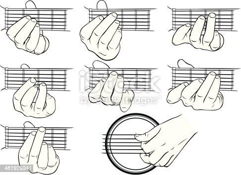 Vector illustrations of guitar chords, A-G, and a strumming hand.
