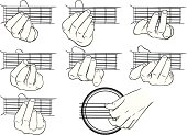 istock Guitar chords, A-G, and a strumming hand 481929941