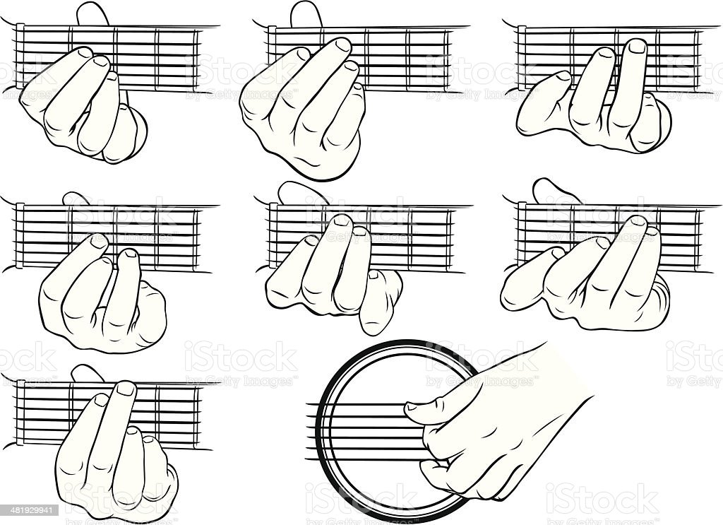 Guitar chords, A-G, and a strumming hand vector art illustration