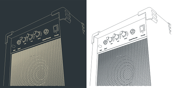 Stylized vector illustration of Guitar combo amplifier sketches