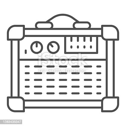 Guitar combo amplifier thin line icon, Sound design concept, Speakers for Electric Guitar sign on white background, guitar amplifier icon in outline style for mobile and web. Vector graphics