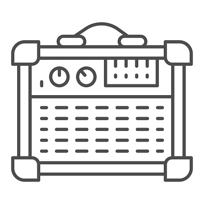 Guitar combo amplifier thin line icon, Sound design concept, Speakers for Electric Guitar sign on white background, guitar amplifier icon in outline style for mobile and web. Vector graphics.