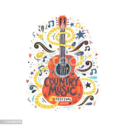 Illustration with acoustic guitar and hand lettering. Great element for music festival or t-shirt. Vector concept.