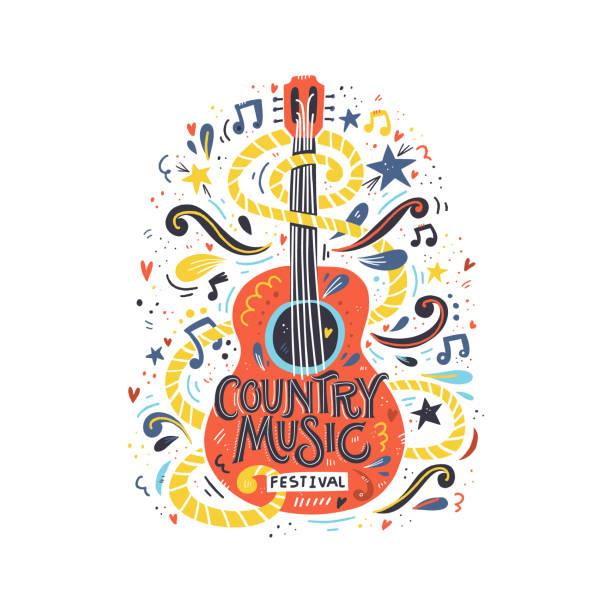 stockillustraties, clipart, cartoons en iconen met gitaar countrymuziek - gitaar