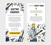 Guitar courses or music school leaflet flyer for printing in Doodle style, double-sided vector template