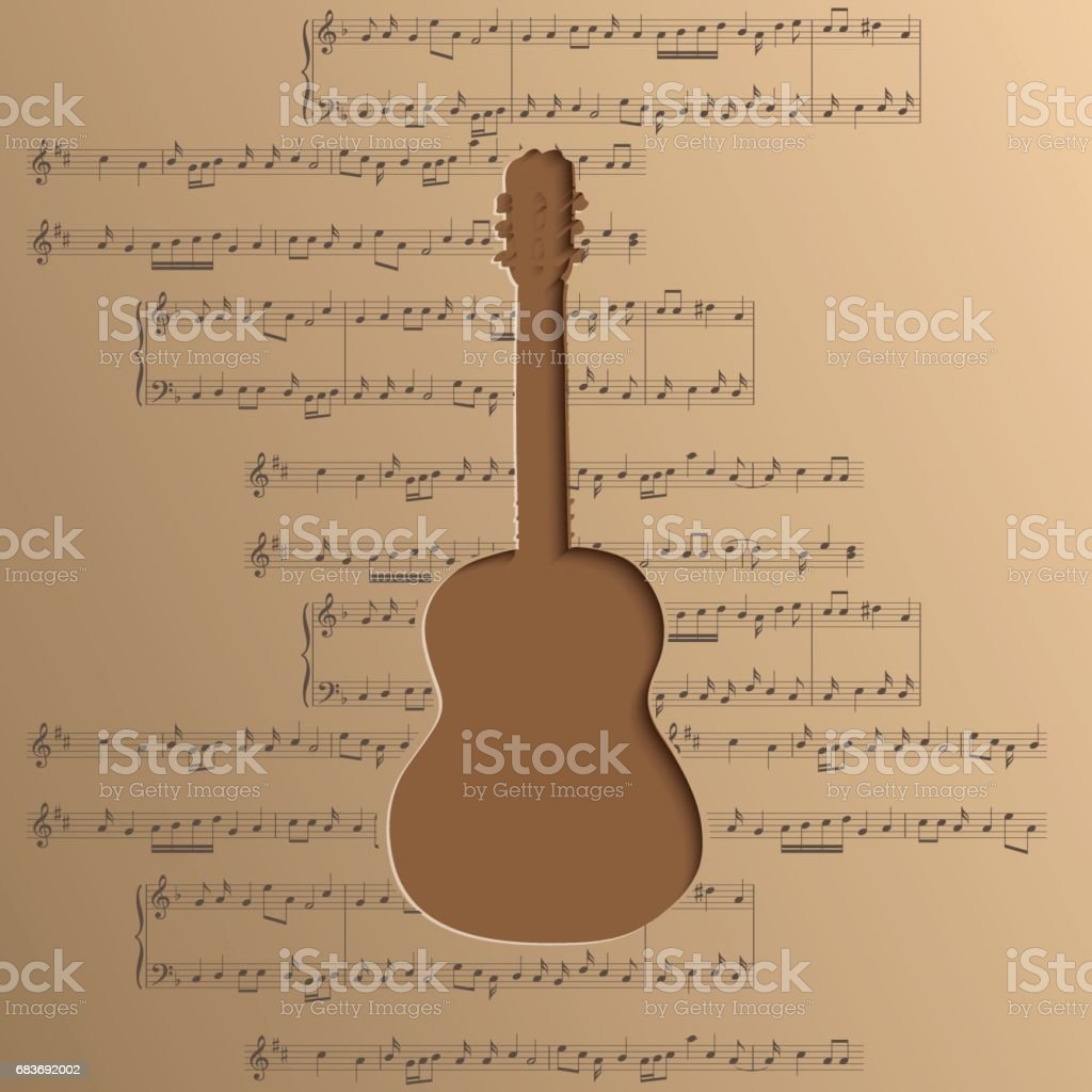 guitar cut out of paper - vector music background with notes