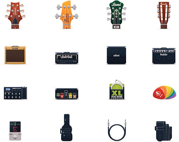 Guitar equipment icon set vector art illustration