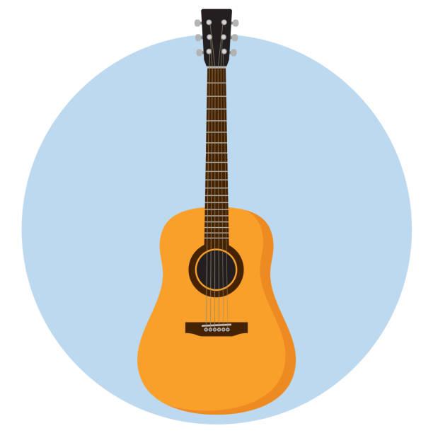 stockillustraties, clipart, cartoons en iconen met guitar flat design - gitaar