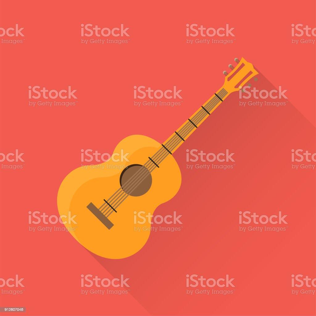Guitar Flat Icon vector art illustration