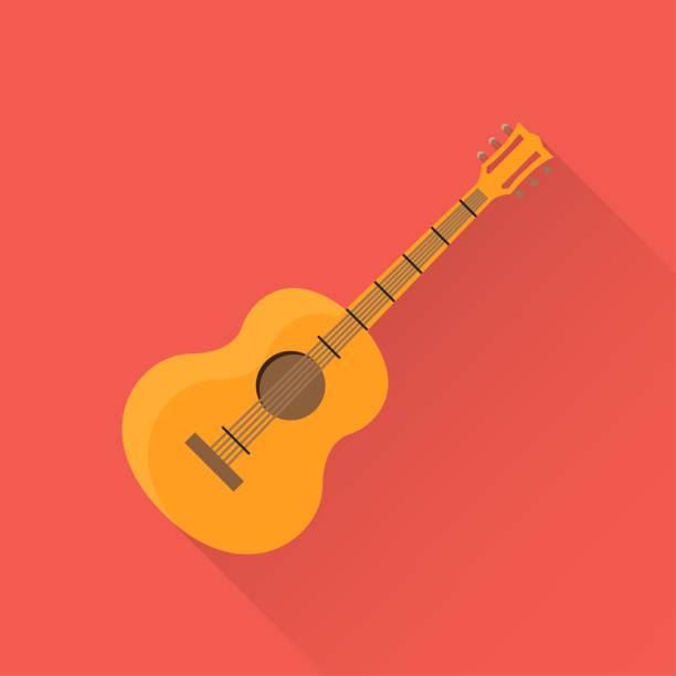stockillustraties, clipart, cartoons en iconen met gitaar platte pictogram - gitaar