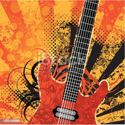 Electric guitar with retro grunge background.