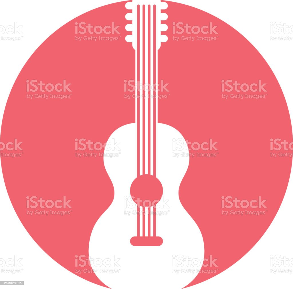 guitar hippie style icon vector art illustration