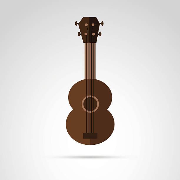 gitarre-symbol isoliert auf weißem hintergrund. - kabelskulpturen stock-grafiken, -clipart, -cartoons und -symbole