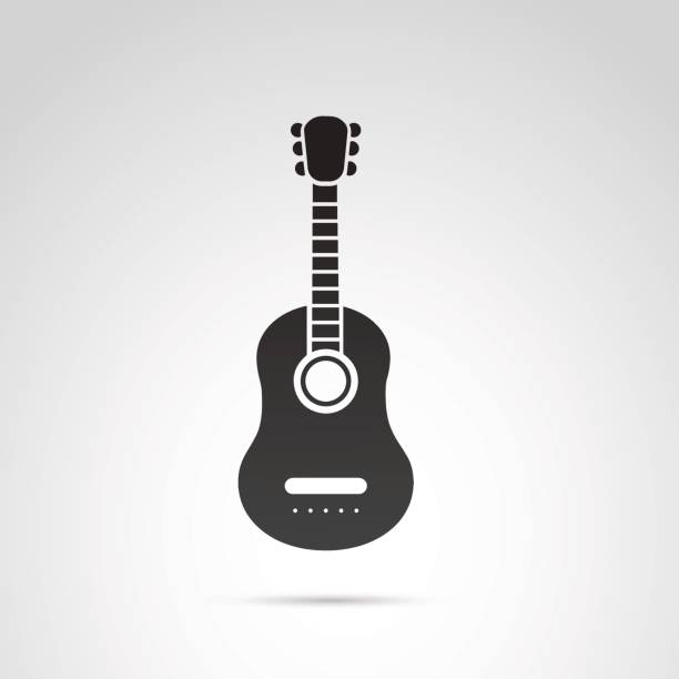 Guitar icon isolated on white background. vector art illustration
