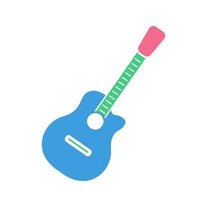 Guitar icon, modern flat design color sign vector