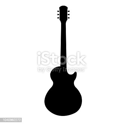Guitar icon, silhouette on white background