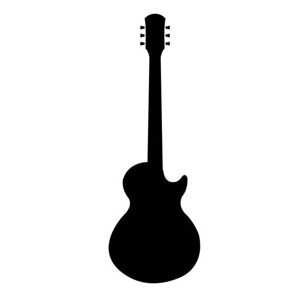 stockillustraties, clipart, cartoons en iconen met gitaar pictogram, silhouet op witte achtergrond - gitaar