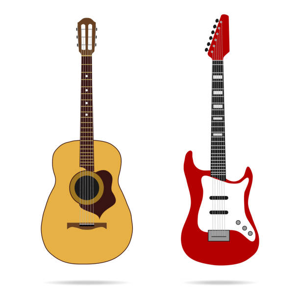 guitar icon - instrument strunowy stock illustrations