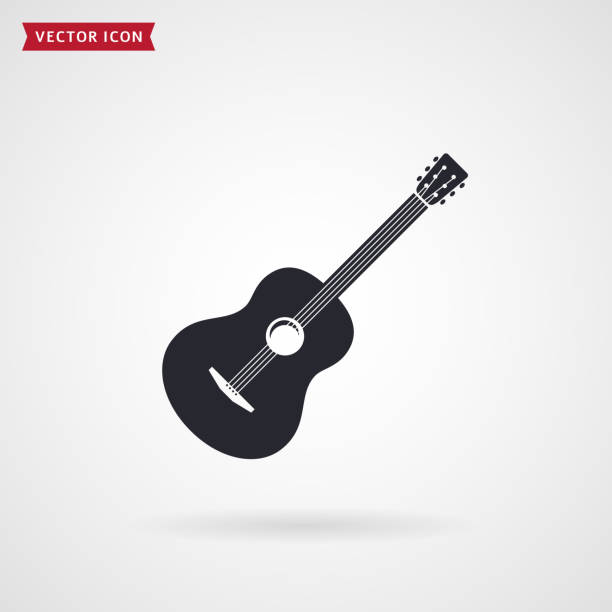 guitar icon. vector. - gitara stock illustrations