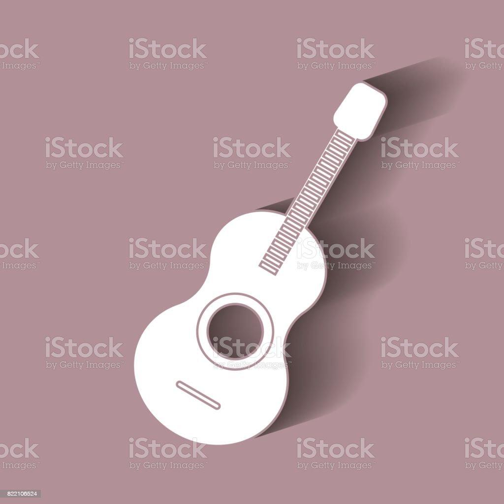 Guitar icon vector.Vector illustration with shadow