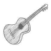 Guitar. Musical Instrument in Hand Drawn Style for Surface Design Fliers Prints Cards Banners. Vector Illustration