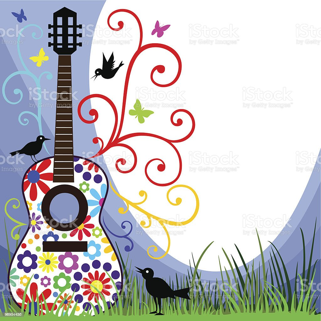 Guitar in the meadow vector art illustration