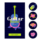 Guitar lessons design template in 9:16 aspect ratio with highlights icons. Decorative guitar and flowers. Layout with text for social media stories, promo materials.