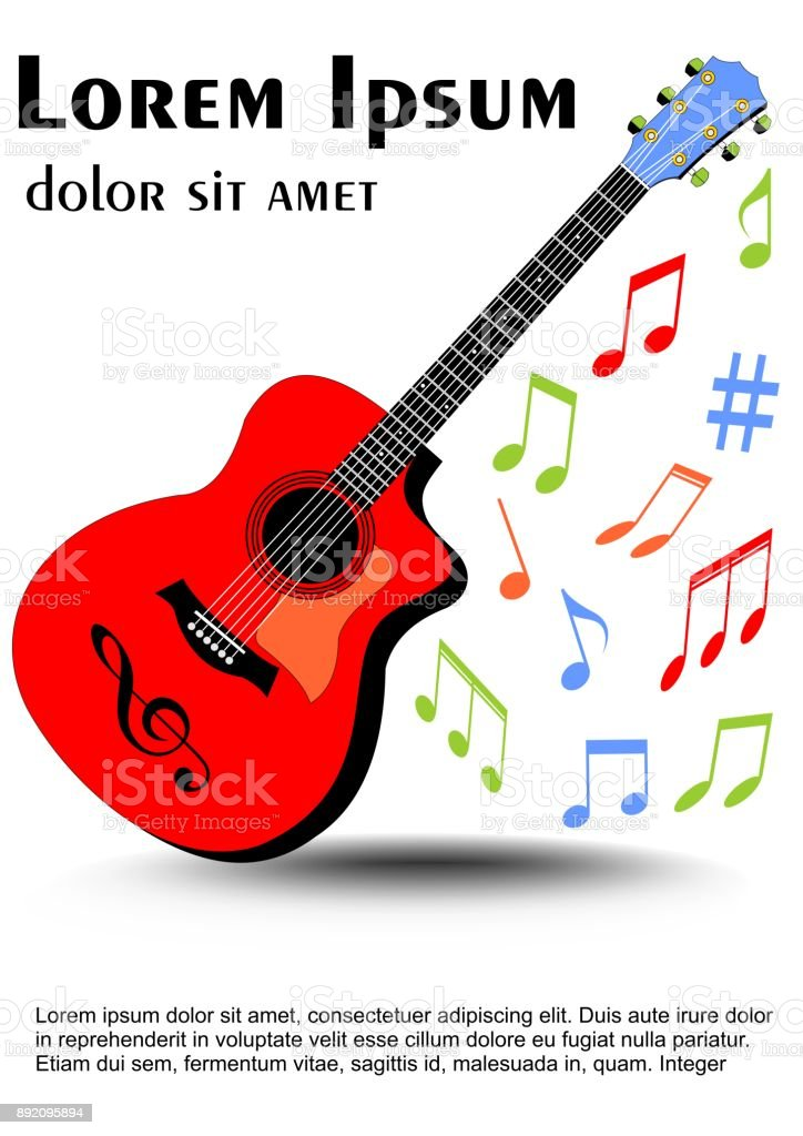 Ilustración de Guitarra Multicolor De Colores Vivos Color Desigual ...