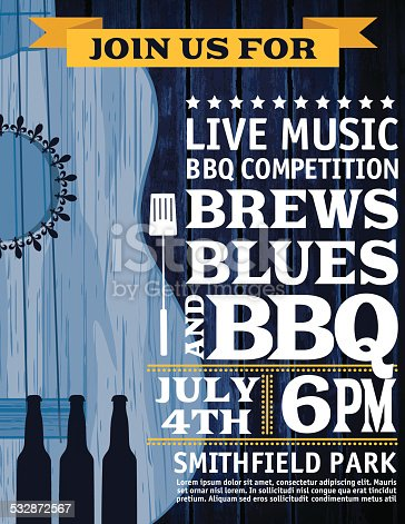 Guitar Music Barbecue Event Invitation vertical Template. BBQ Invitation With a blue guitar on black wood grain textured background.  The white text is on the right of the guitar with a banner across the top of template.  Celebration for July 4th party and barbecue invitation.