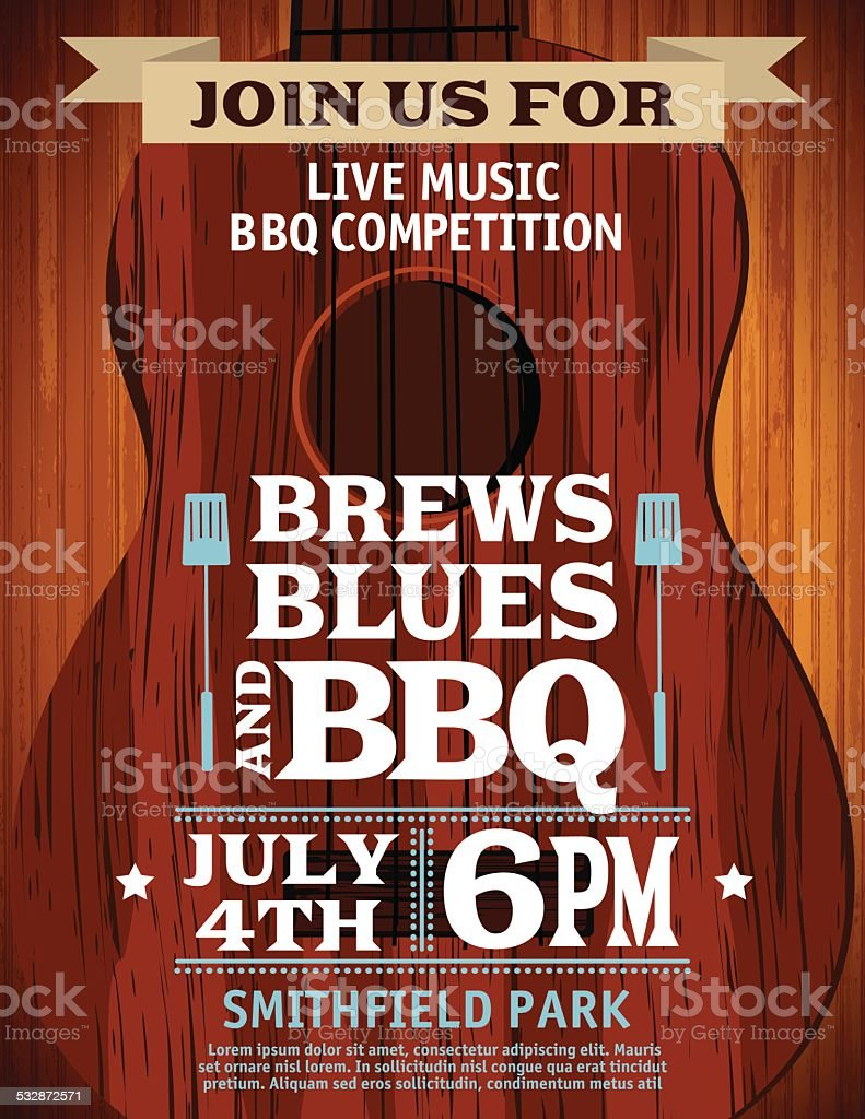 Guitar Music Barbecue Event Invitation Template vector art illustration