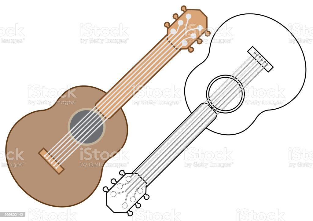 Gitar Muzik Aleti Boyama Kitabi Vektor Cizim Stok Vektor Sanati