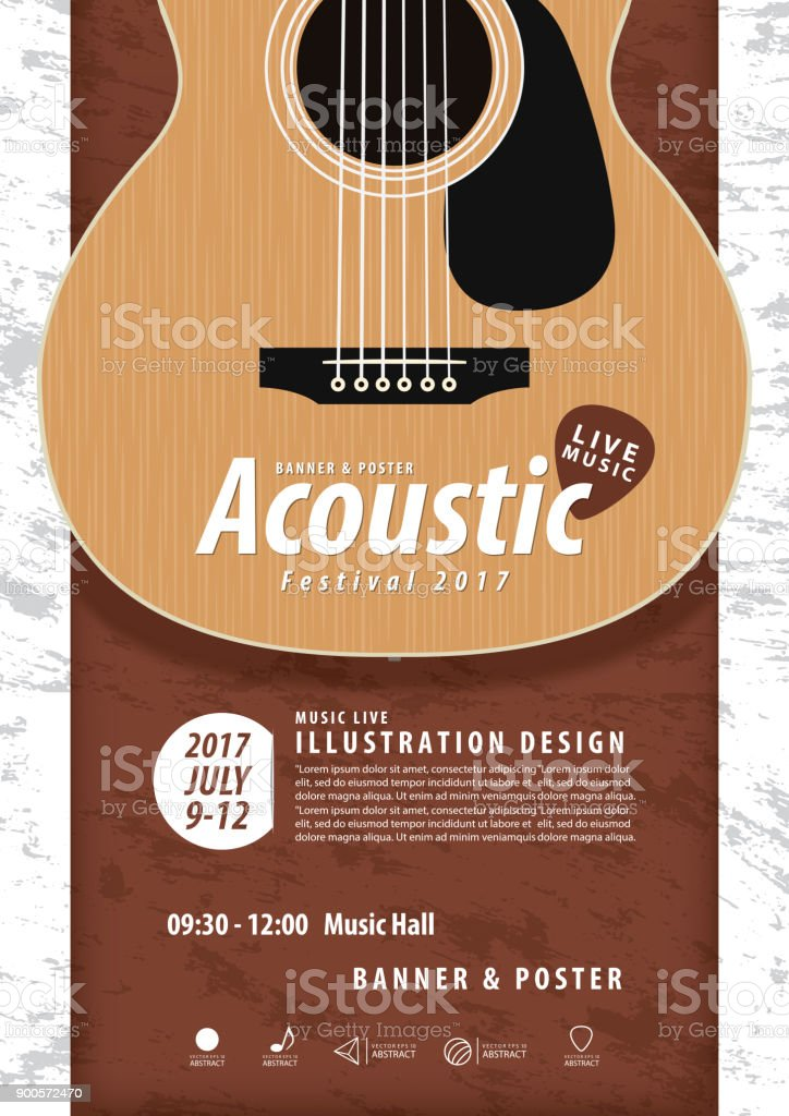 Guitar, Musical instrument design realistic style and A4 poster music festival layout for commercial vector. Musical instrument and music concept.