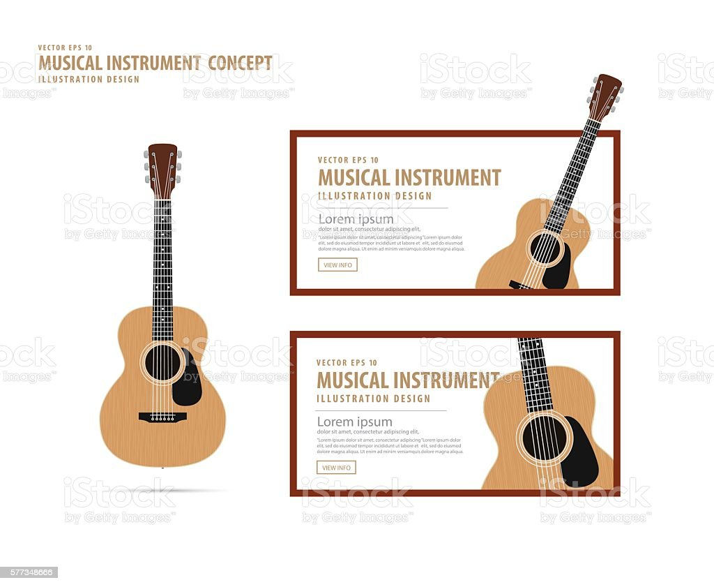 Guitar, Musical instrument design realistic style and banner layout vector. vector art illustration