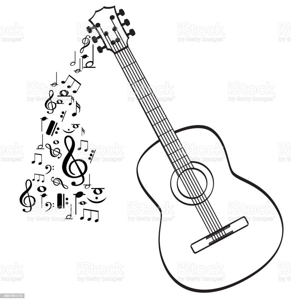 Guitar Musical Instrument With Music Symbols Stock Vector Art More