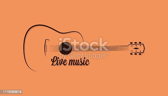 istock Guitar  of live music on yellow background 1175093618