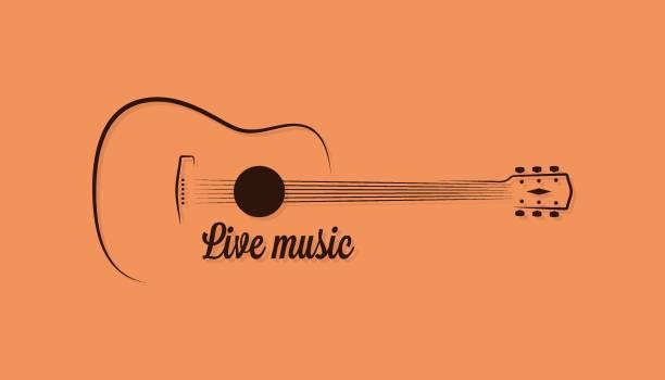 bildbanksillustrationer, clip art samt tecknat material och ikoner med gitarr av levande musik på gul bakgrund - gitarr